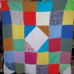 One of the knitted blankets we made for the refuge in 2013